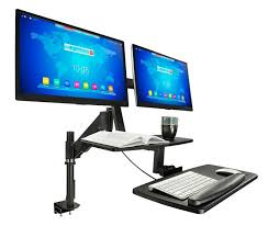 sit stand desk mount for dual monitors 17 27 screens