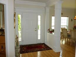 Traditional Entryway with Columns, Carpet, Crown molding, Laminate floors,  Alana Floral Red