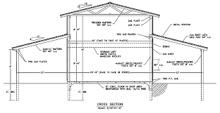 drawing of a barn plan with side sheds