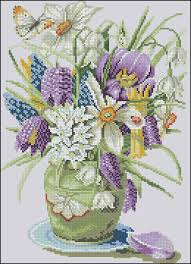 Free Printable Counted Cross Stitch Charts Crocuses And Daffodils Free Cross Stitch Pattern Free