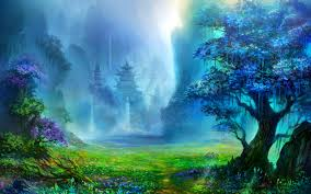 fantasy art pagoda asian architecture trees waterfall artwork mountain digital art nature landscape water wallpapers hd desktop and mobile  on art nature wallpaper with fantasy art pagoda asian architecture trees waterfall artwork
