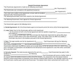Sample Roommate Contract Roommate Rental Agreement Template