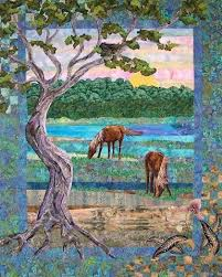 179 best Art quilts images on Pinterest | Quilt art, Art quilting ... & 'Taylor's Creek' by Eileen Williams - Landscape art quilt inspired by a  photo of wild horses seen from the waterfront in Beaufort, NC. Adamdwight.com