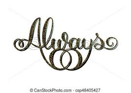 Wedding Cake Topper Gold Glitter Word Always With Wedding Rings
