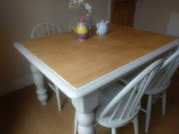 Shabby Chic Solid Pine Rubberwood Dining Table 4 Ercol Chairs