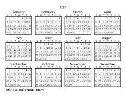 Small Printable 2020 Calendar Download 2020 Printable Calendars