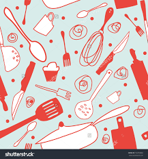 Wallpaper Kitchen Seamless Cook Background Retro Kitchen Wallpaper Stock Vector