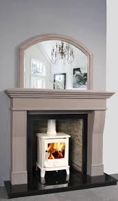 grey stone fireplace design