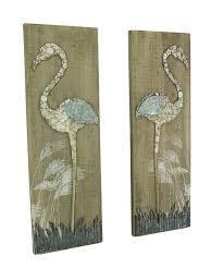 zeckos rustic fl flamingo piece wood and tal wall set door art white plate ideas distressed