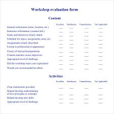 sample workshop evaluation form