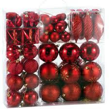 Weihnachtskugeln 103 Tlg Set Rot Weihnachtsbaumschmuck Kunststoff Weihnachtsbaumkugeln Christbaumkugeln Weihnachtsdeko Christbaumschmuck
