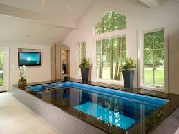 Plain Home Indoor Pool With Bar Endless In A Spa Infused Creativity Design