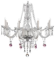8 light pink heart crystal chandelier
