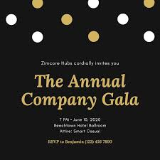 Black And Gold Dots Company Event Invitation Templates By