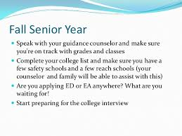 college readiness and college essay preparation  10 fall senior year