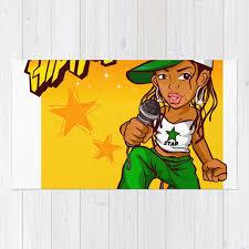 hip hop rapper girl green orange cartoon rug