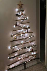 diy decoration ideas nice looking wall tree design with hanging right lights twigs and