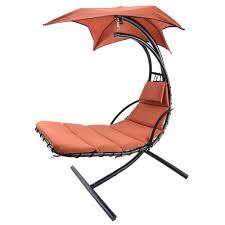 zimtown orange hanging chaise lounge chair umbrella patio furniture pool lounger hammock com