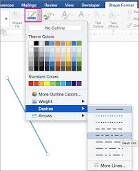 You can use an easy keyboard shortcut after selecting a line shape, use your mouse to draw a line wherever you want on the document. Change The Color Style Or Weight Of A Line In Word For Mac Office Support