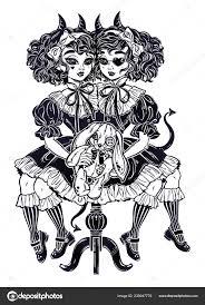Gotické Viktoriánské Dvě Siamské Démonické Dívky S Voodoo Vycpaná