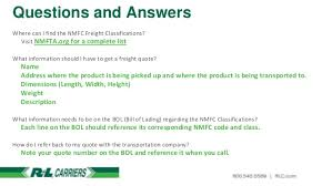 Nmfc Codes Chart National Motor Freight Classification A Basic Understanding