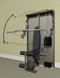 Because the cables exit the gym's arms right at the shoulder, the user can  go