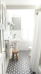 bathroom subway tile. White Subway Tile Bathroom With And Patterned Floor Tiles Designed By Vintage Scout Interiors Walls