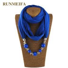 runmeifa charms jewelry pendant scarf solid color cotton resin statement collar pendant necklace scarf wraps women accessories bandana world purple bandanas