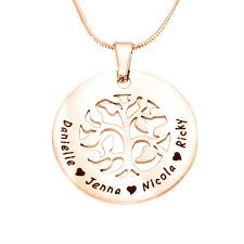 personalised s family tree necklace 18ct rose gold plated amazingnecklace com