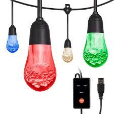 led cafe lights 24 acrylic bulbs 24ft black