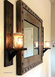 rustic wall lamps oversized candle wall sconces unique rustic wall sconces and rustic studded frame mirror
