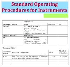 How To Prepare A Sop Format Interesting Writing Sop Template Standard Operating Procedure Example Sample Sop