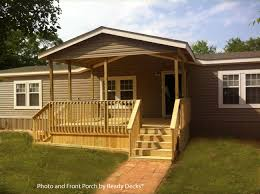 large gabled front porch on mobile home by ready decks