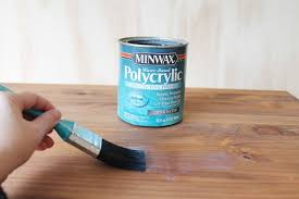 apply second coat and a third coat of minwax polycrylic in the same way you did the first and second sanding lightly between coats