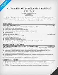 Resume Samples For Internships Internship Resume Template Marketing Advertising And Internships