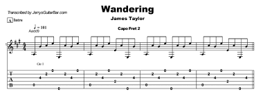 22 for del shannon and yet again in 1977 for james taylor. James Taylor Wandering Guitar Lesson Tab Chords Jgb