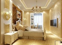 gypsum ceiling room decor full design with bedside wall lamp and high class bedroom furniture