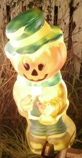 Outdoor Plastic Light Up Pumpkins Vintage Halloween Outdoor Plastic Blow Mold Pumpkin Jack O Lantern Head Scarecrow Comes With Working Light Yard Decor