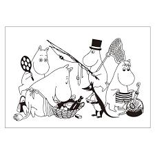 Moomin Putinki ムーミン プティンキ ぬり絵ポストカード ムーミン ファミリー ピクニック