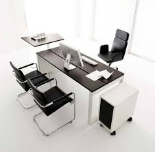 furniture office tables designs table ideas dark brown wooden u shape white color long computer