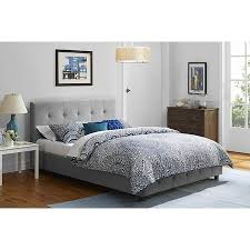 tufted upholstered bed. DHP Rose Linen Tufted Upholstered Platform Bed, Button Headboard And Footboard With Wooden Slats Bed A