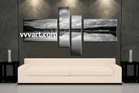 living room art 4 piece canvas wall art ocean decor landscape artwork  on cheap black and white canvas wall art with 4 piece ocean black and white canvas wall art