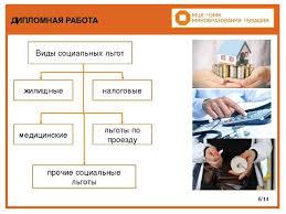 Презентация по праву социального обеспечения Льготные основания  ДИПЛОМНАЯ РАБОТА 6 14 Виды социальных льгот жилищные налоговые медицинские л