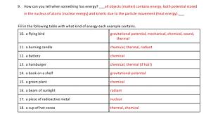 energy transformation worksheet energy transformations worksheet ...