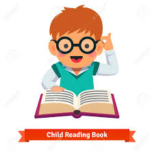 small boy playing in gles reading book flat style vector cartoon ilration isolated on white