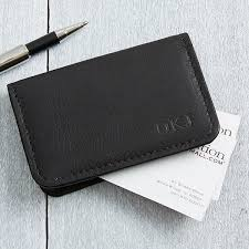 personalized black leather business card cases monogram 11642