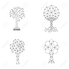 Start with horizontal dotted lines, they're easier than the vertical ones. Set Trees Made Of Connected Dots Royalty Free Cliparts Vectors And Stock Illustration Image 61116169