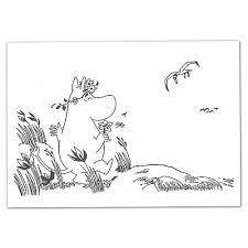 ムーミンputinkiぬり絵ポストカードムーミンとかもめptk050116