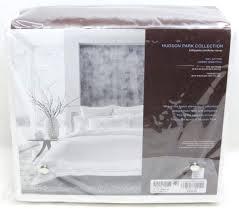 hudson park ladder hemstitch white full queen duvet comforter cover new hudson park duvet cover king