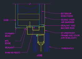 front door jamb detail plan cad files dwg files